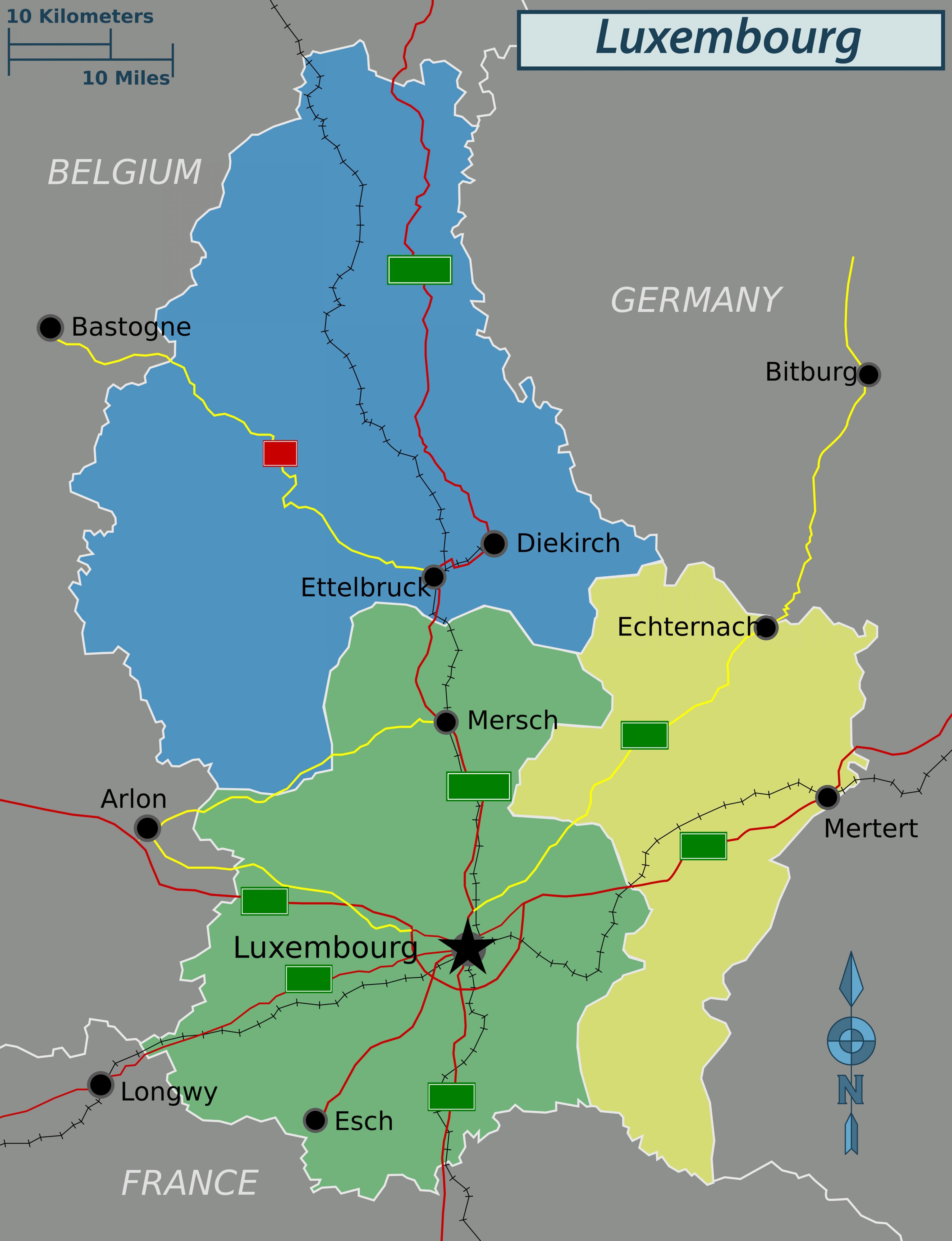 Luksemburg Politycznej Mapy Mapa Luksemburg Polityczne Europa
