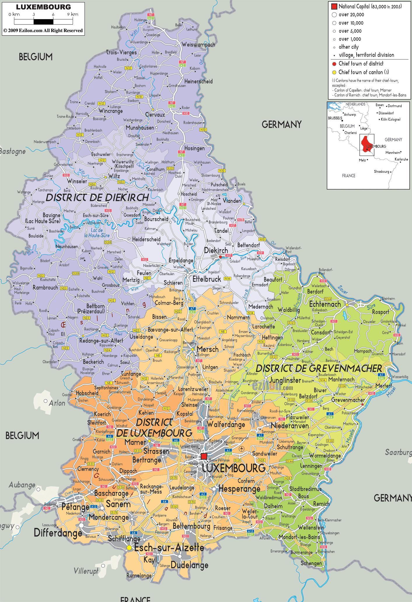 Mapa Luksemburg Luksemburg Mapa Kraju Europa Zachodnia Europa