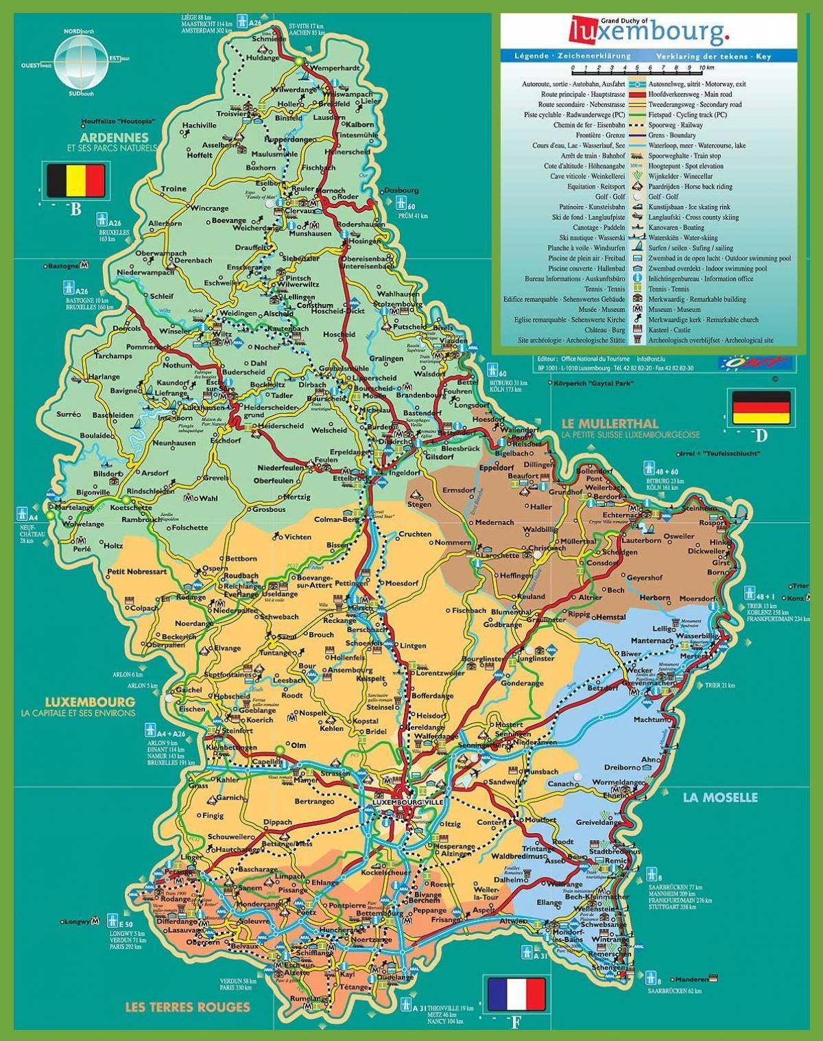 Mapa Turystyczna Luksemburg Miasto Luksemburg Mape Turystyczna